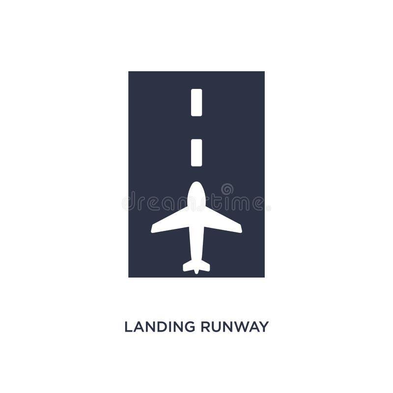 ícone de aterrissagem da pista de decolagem no fundo branco Ilustração simples do elemento do conceito do terminal de aeroporto ilustração stock