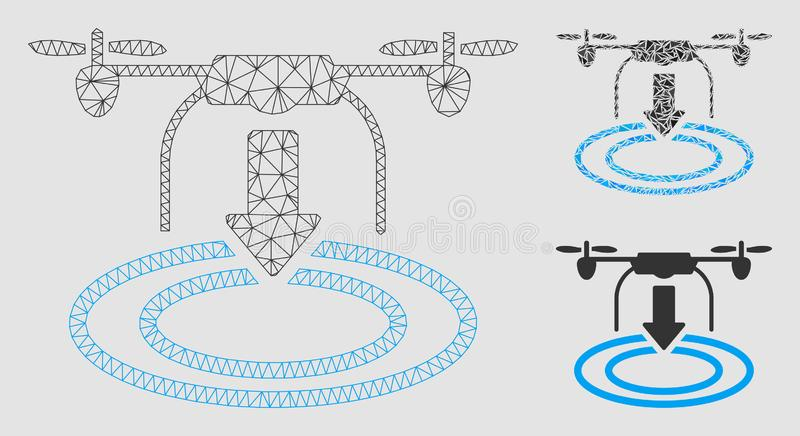 Ícone de aterrissagem do mosaico do modelo e do triângulo da malha do vetor do zangão 2D ilustração do vetor