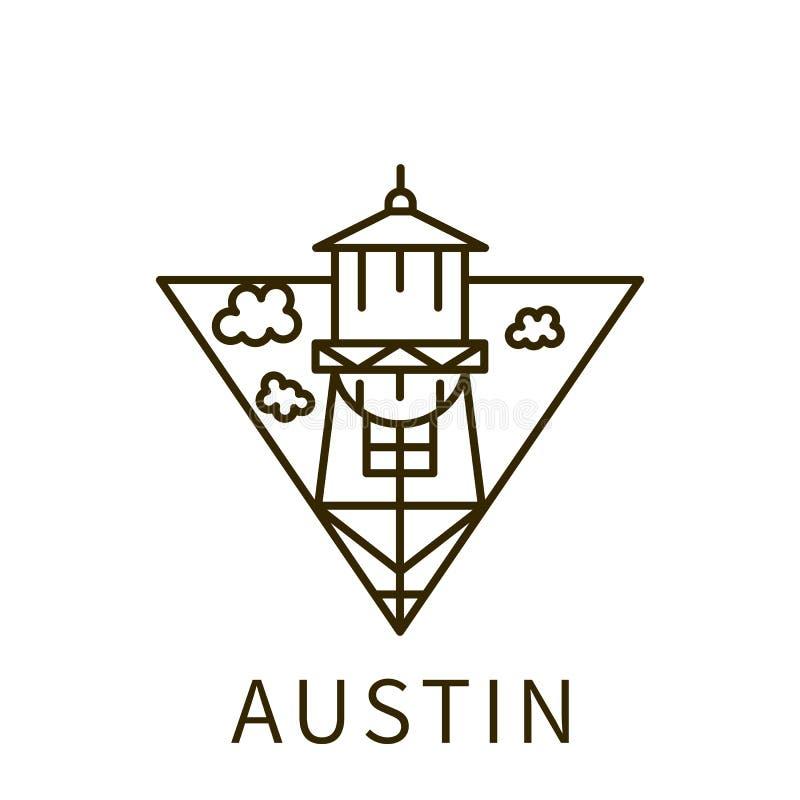 Ícone de Austin Elemento da cidade no ícone do triângulo ilustração do vetor