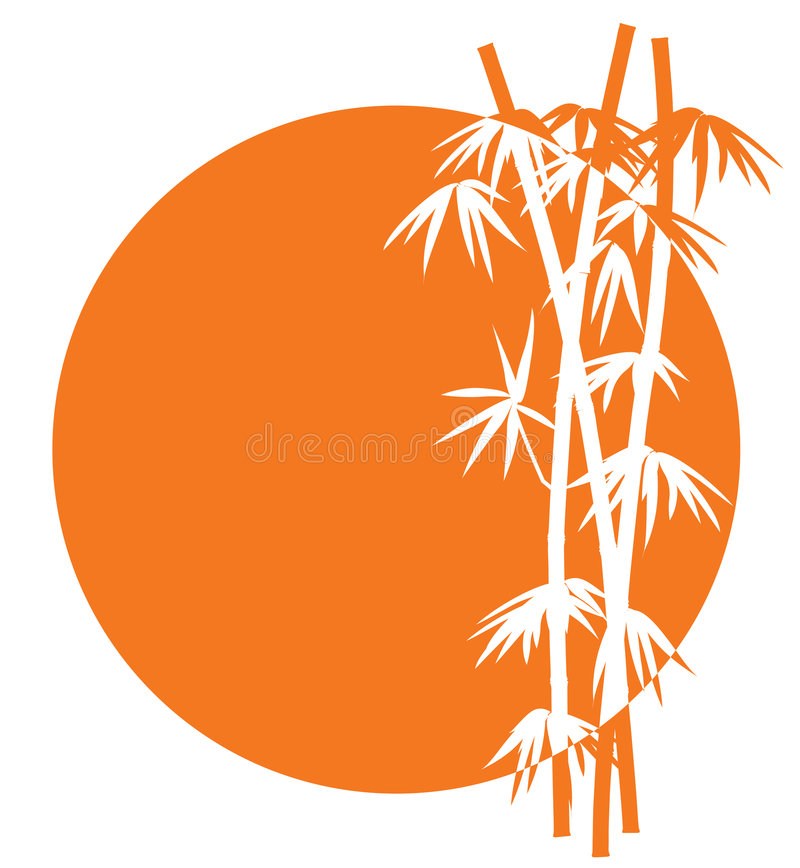 Ícone de bambu do por do sol ilustração do vetor