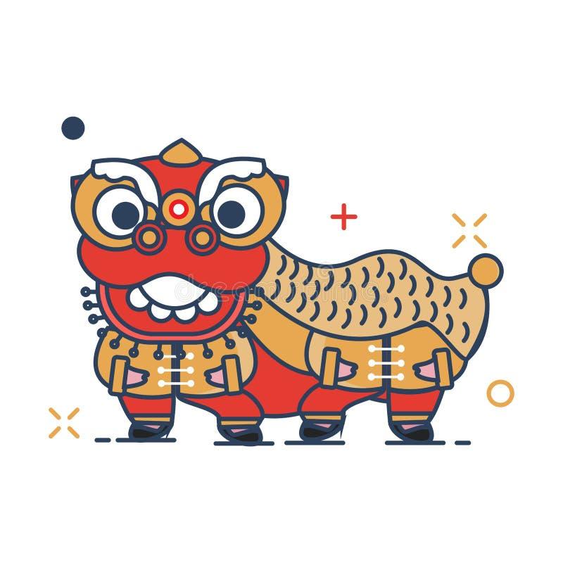 Ícone de Barongsai - com estilo enchido esboço ilustração royalty free