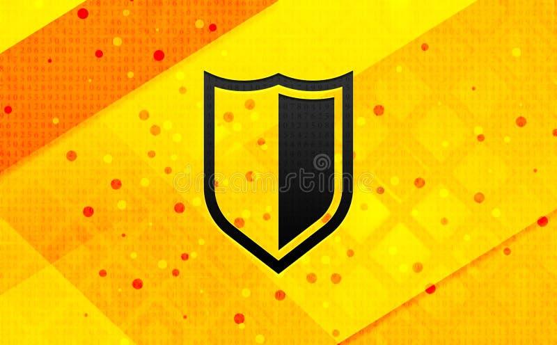 Ícone de blindagem plano de fundo amarelo de banner digital abstrato ilustração royalty free