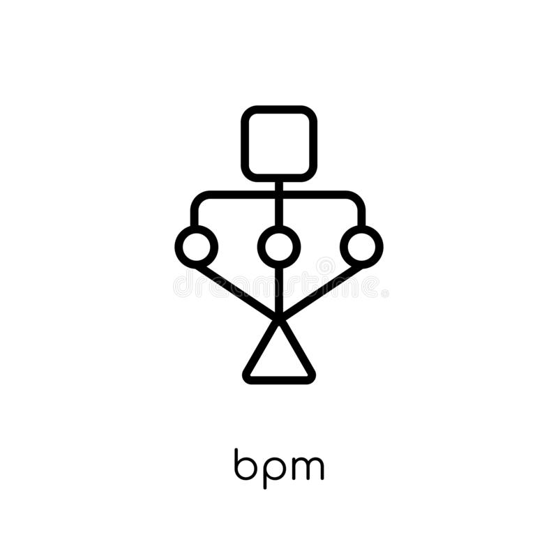 Ícone de BPM Ícone linear liso moderno na moda do bpm do vetor no CCB branco ilustração royalty free