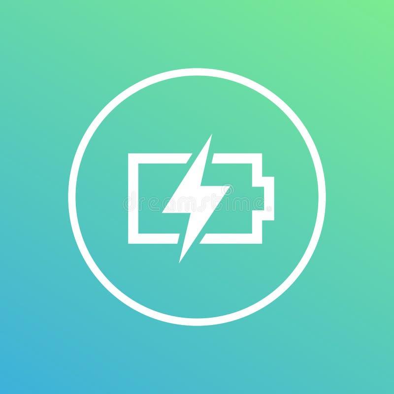 Ícone de carregamento da bateria no círculo ilustração stock