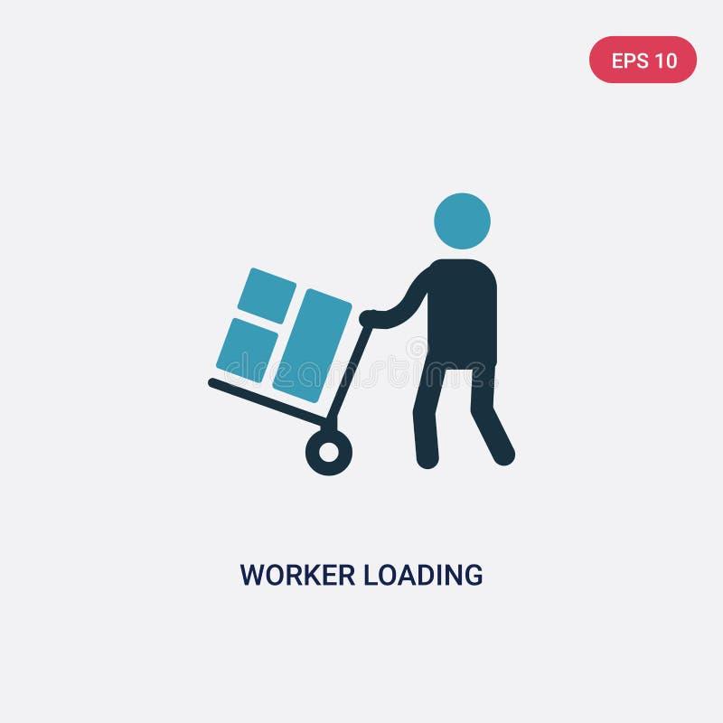 Ícone de carregamento do vetor do trabalhador de duas cores do conceito dos povos o símbolo de carregamento isolado do sinal do v ilustração stock