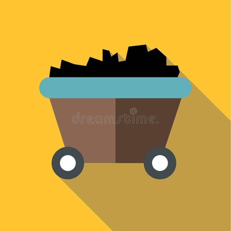 Ícone de carvão ou de trole da mina, estilo liso ilustração stock