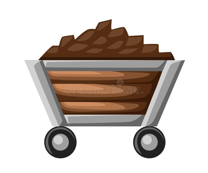 Ícone de carvão ou de trole da mina Ilustração lisa do ícone de carvão ou de trole da mina para a Web ilustração do vetor