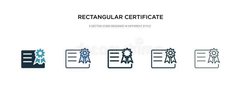 Ícone de certificado retangular em ilustração de vetor de estilo diferente dois ícones de vetor de certificado retangular preto e ilustração stock