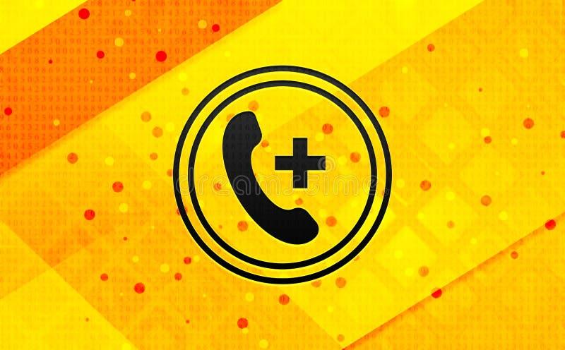 Ícone de chamada de emergência plano de fundo amarelo abstrato de banner digital ilustração stock