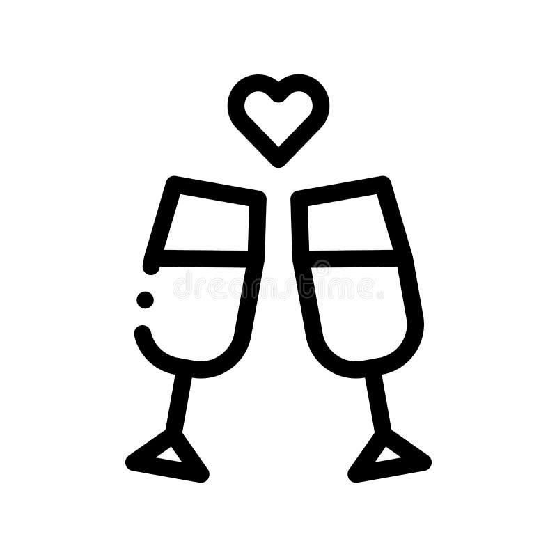 Ícone de Champagne Glasses Wedding Ceremony Vetora ilustração do vetor
