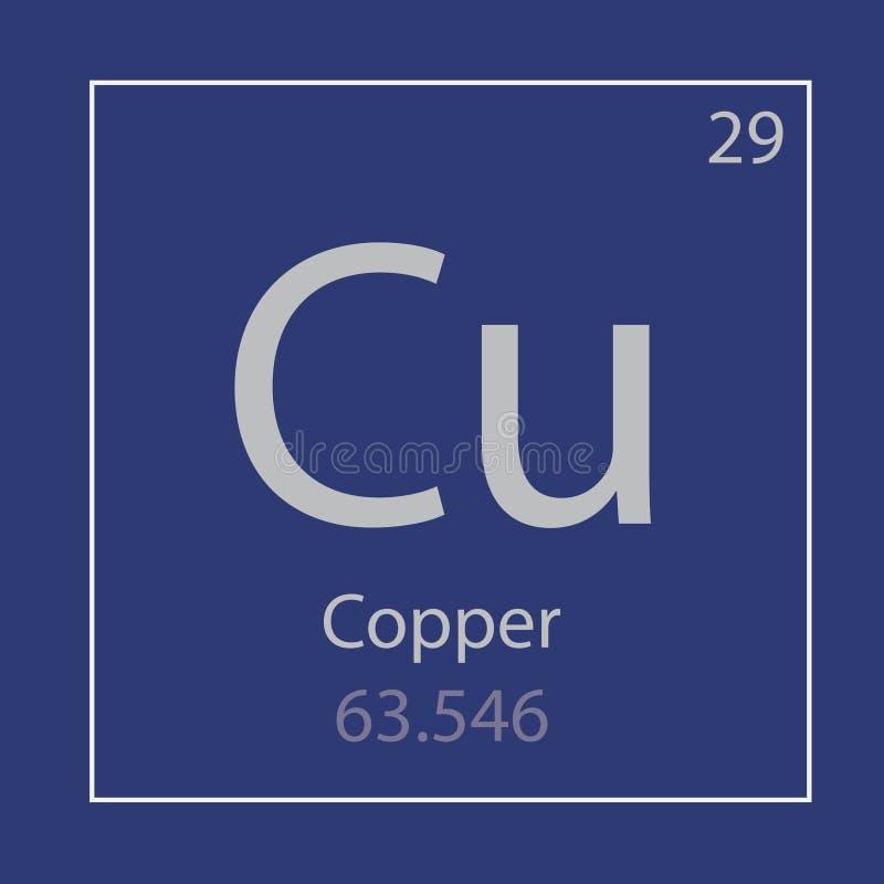 Ícone de cobre do elemento químico do Cu ilustração stock