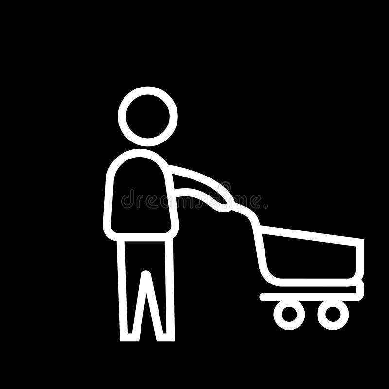 Ícone de compra feliz linear branco de compra feliz do símbolo da ilustração do vetor ilustração stock