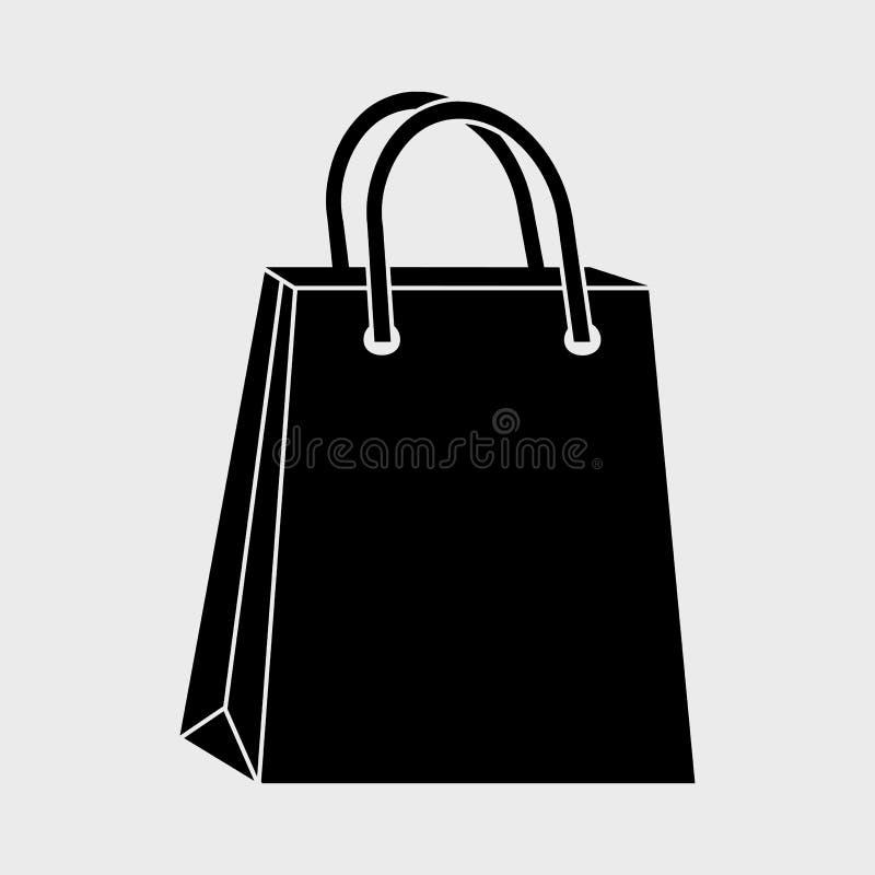 Ícone de compra preto do saco de papel Vetor ilustração do vetor