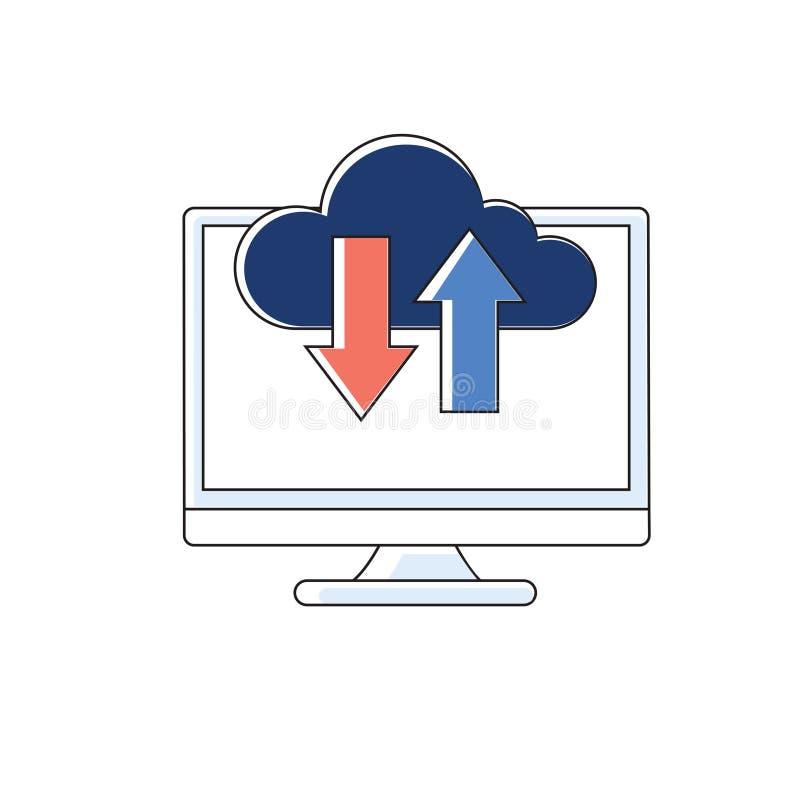 Ícone de computação da cor da nuvem Armazenamento de dados do Internet Partilha de ficheiros ilustração do vetor
