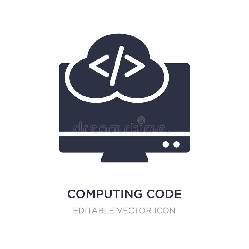 ícone de computação do código no fundo branco Ilustração simples do elemento do conceito do computador ilustração do vetor