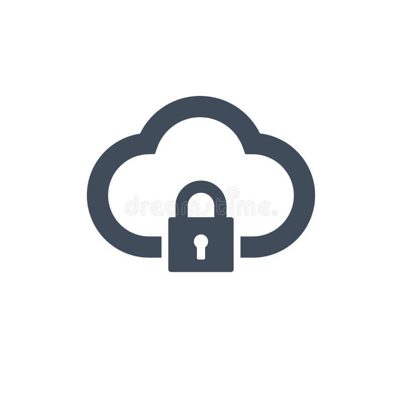 Ícone de computação do fechamento da nuvem isolado no fundo limpo E Conceito da segurança da nuvem Projeto liso Illustr do vetor ilustração stock