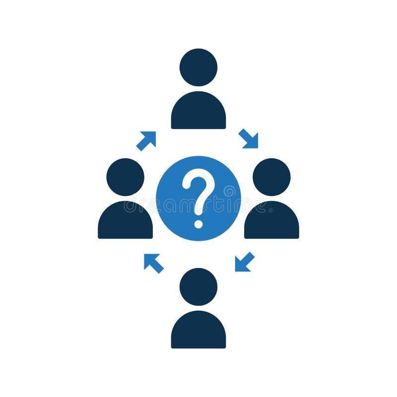 Ícone de conexão dos povos Ícone da comunidade com ponto de interrogação Ícone e ajuda dos trabalhos de equipa, como a, informaçã ilustração stock