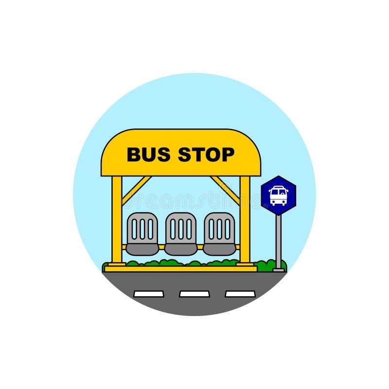 Ícone de construção da parada do ônibus ilustração do vetor