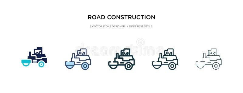 Ícone de construção de estrada em ilustração de vetor de estilo diferente dois ícones coloridos e pretos do vetor de construção d imagens de stock