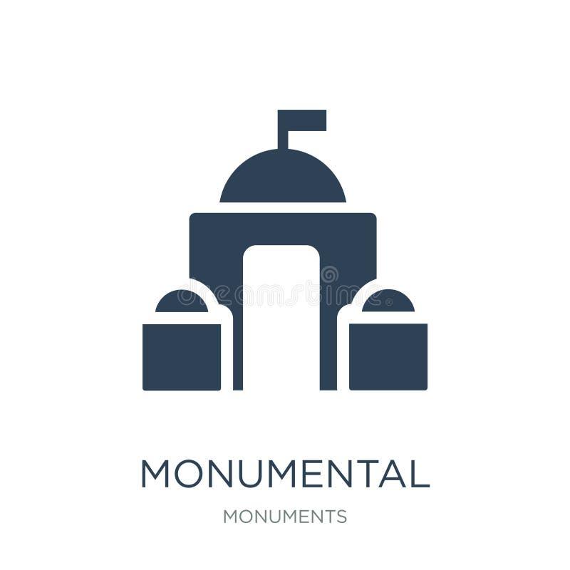 ícone de construção monumental no estilo na moda do projeto Ícone monumental da construção isolado no fundo branco vetor de const ilustração stock