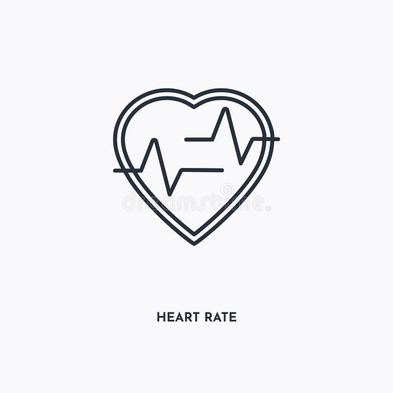 Ícone de contorno de taxa de coração Ilustração simples de elementos lineares Linha isolada Ícone de frequência cardíaca em fundo ilustração do vetor