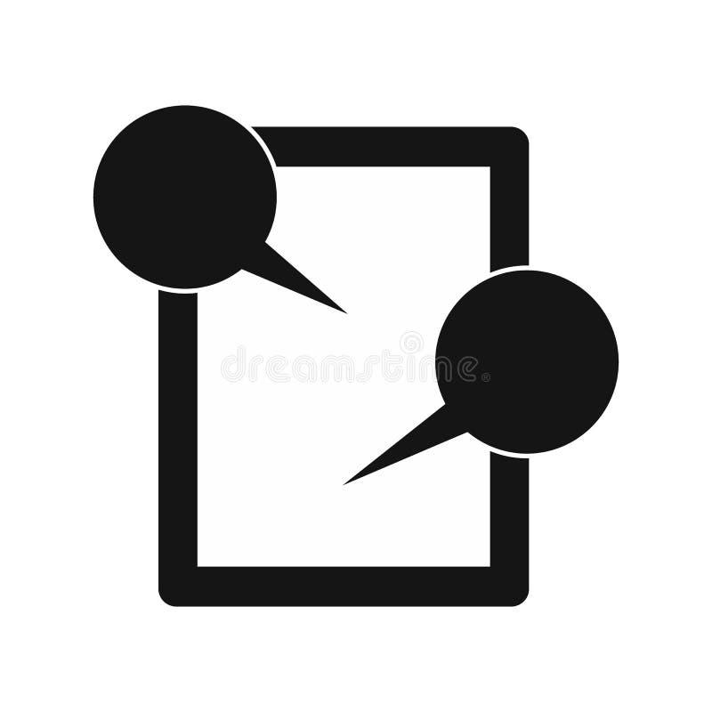 Ícone de conversa da tabuleta, estilo simples ilustração do vetor