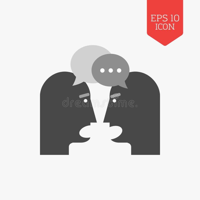 Ícone de conversa de duas pessoas conceito da disputa Colo liso do cinza do projeto ilustração royalty free