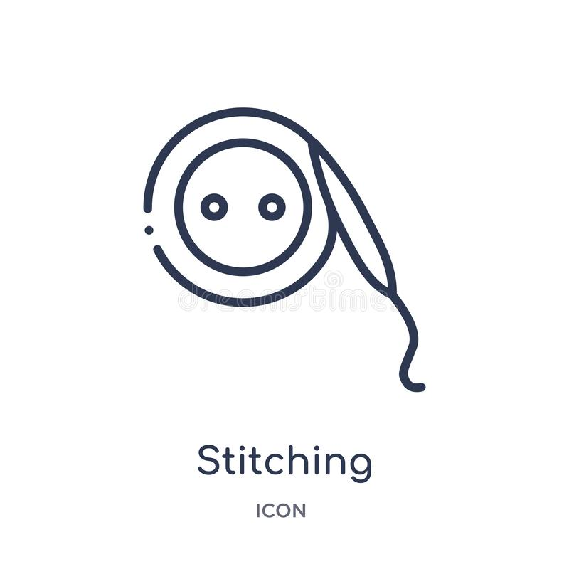 Ícone de costura linear da coleção do esboço da forma Linha fina ícone de costura isolado no fundo branco costura na moda ilustração do vetor