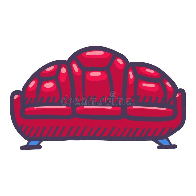Ícone de couro vermelho do sofá, estilo tirado mão ilustração do vetor