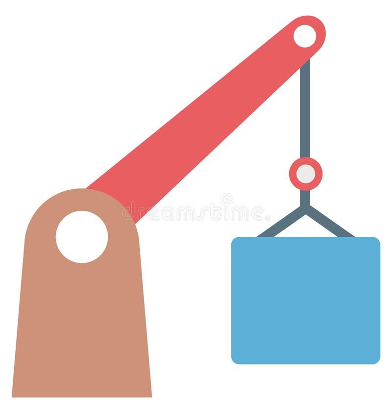 Ícone de Crane Colored Color Isolated Vetora da torre editável ilustração do vetor