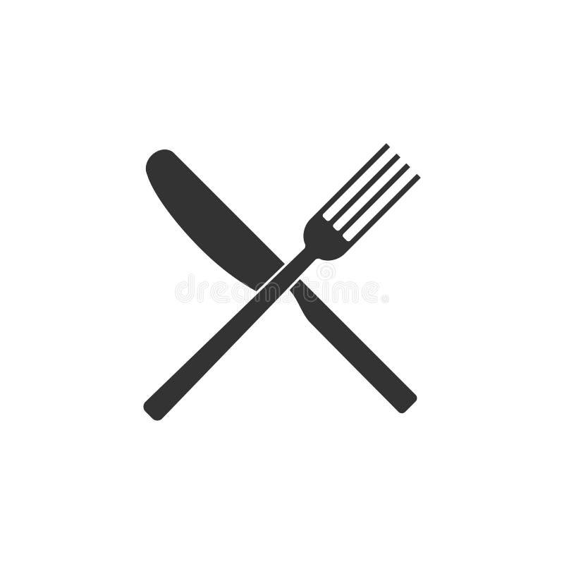Ícone de Cultery, sinal da colher da forquilha da faca Projeto liso, ilustração ilustração stock