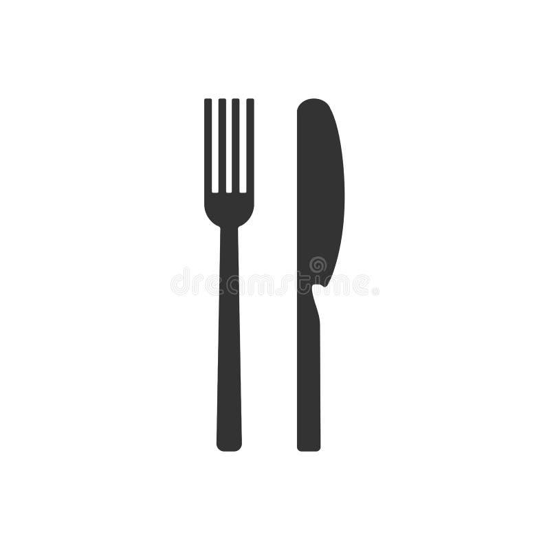 Ícone de Cultery, sinal da colher da forquilha da faca Projeto liso, ilustração ilustração royalty free