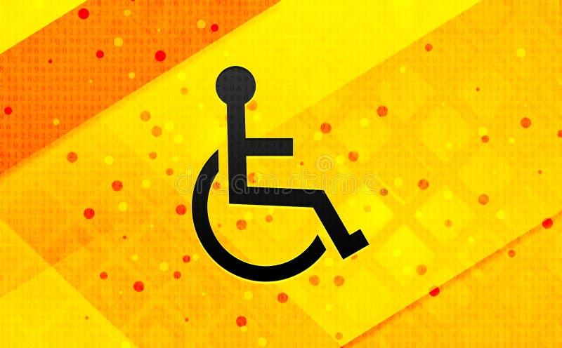 Ícone de desvantagem de cadeira de rodas abstrato fundo digital de banner amarelo ilustração do vetor