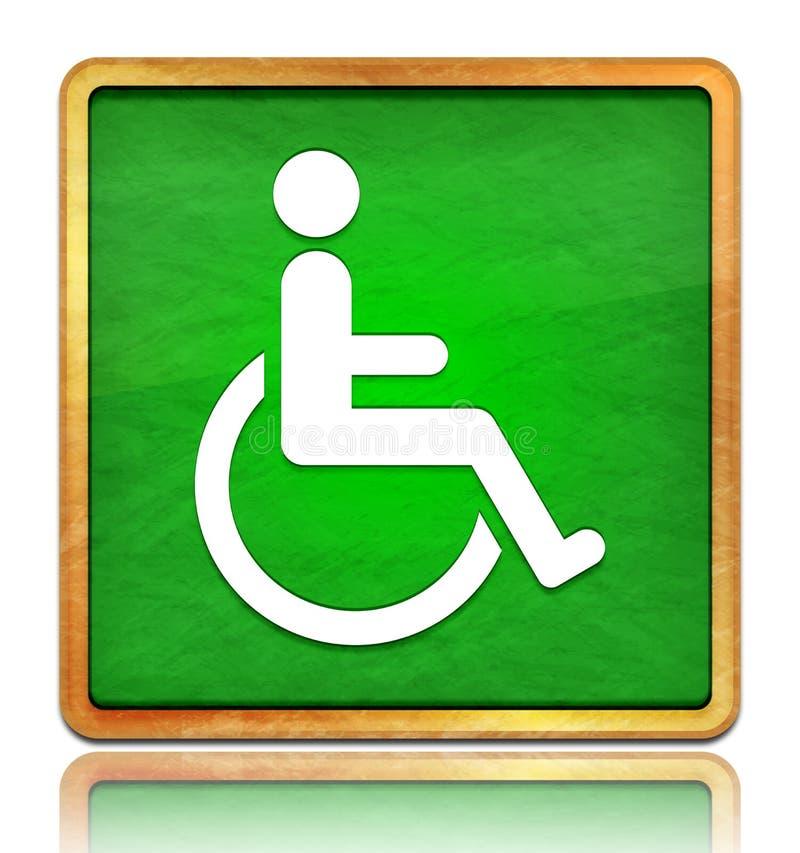 Ícone de desvantagem para cadeiras de rodas botão verde botão quadrado ardente textura em madeira conceito isolado sobre fundo br fotografia de stock royalty free