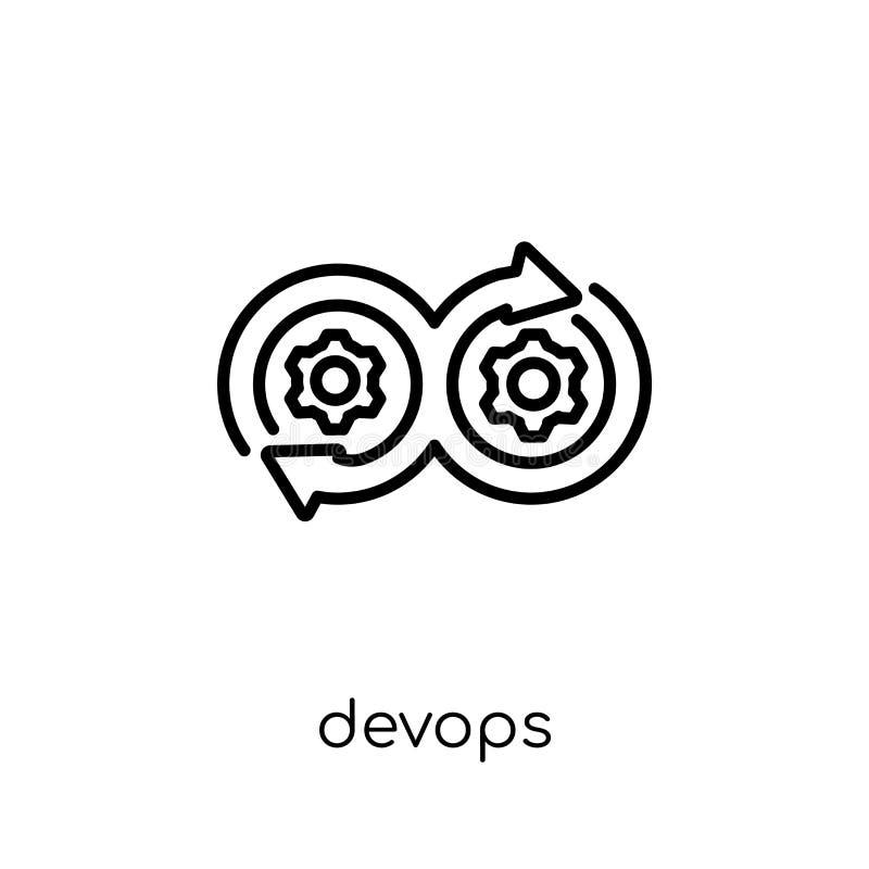 Ícone de DEVOPS Ícone linear liso moderno na moda do vetor DEVOPS no whi ilustração do vetor