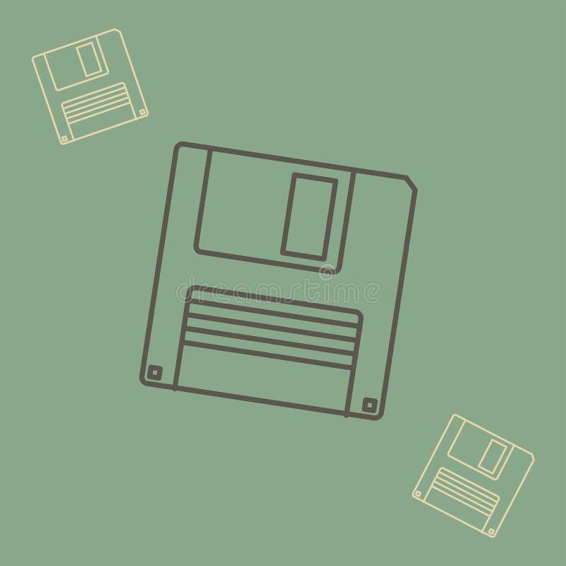 Ícone de disco flexível no estilo do esboço ilustração do vetor