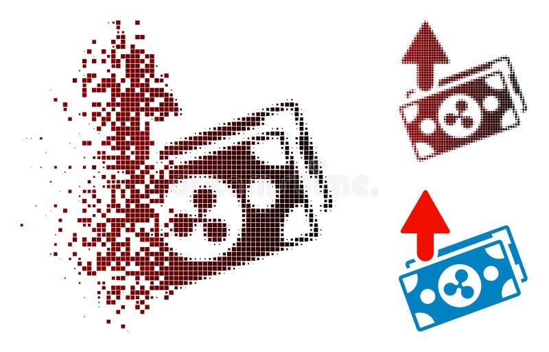 Ícone de dissolução de Dot Halftone Ripple Expences Banknotes ilustração do vetor