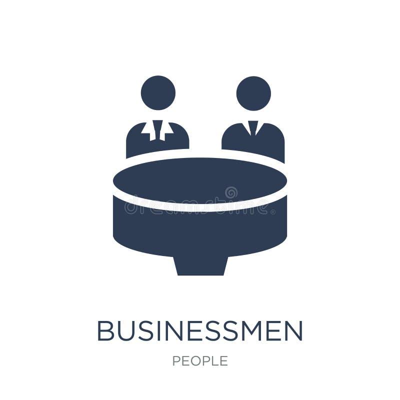 Ícone de Disussing dos homens de negócios Homens de negócios lisos na moda Disus do vetor ilustração royalty free