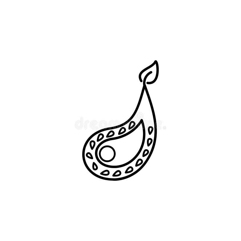 Ícone de Diwali da decoração de Diya no fundo branco Elementos hindu do festival de Diwali para o gráfico e design web no fundo b ilustração royalty free