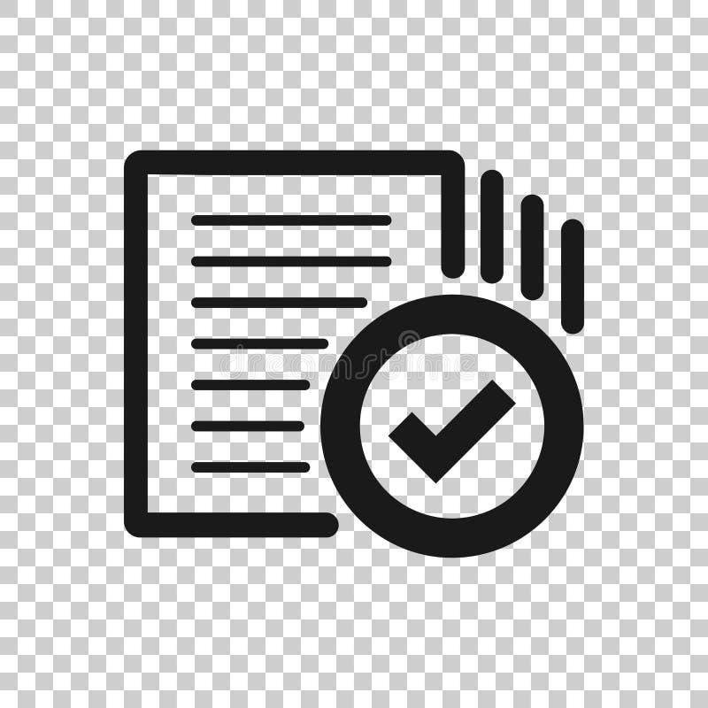 Ícone de documento da conformidade no estilo transparente Ilustração aprovada do vetor do processo no fundo isolado Neg?cio do si ilustração stock