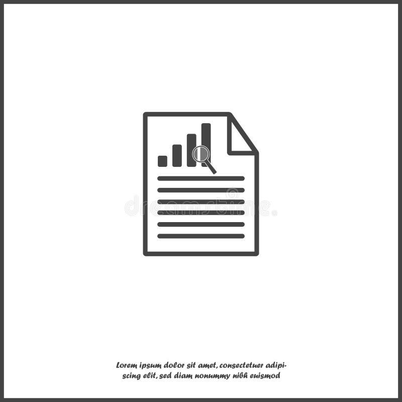 Ícone de documento do vetor com taxa de crescimento e texto no fundo isolado branco Símbolo do dinheiro rápido ilustração do vetor
