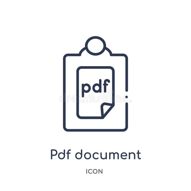 Ícone de documento linear do pdf da coleção do esboço da educação Linha fina vetor do documento do pdf isolado no fundo branco pd ilustração do vetor