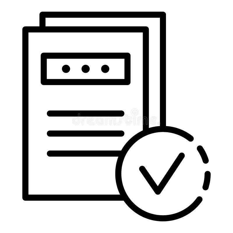 Ícone de documentos marcado, estilo do esboço ilustração do vetor