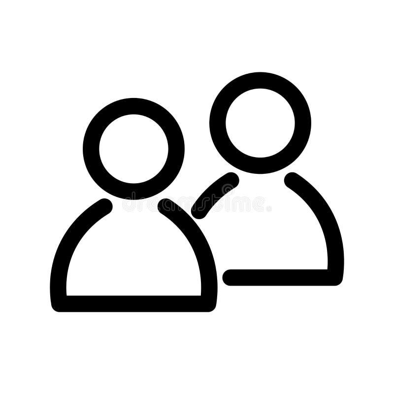 Ícone de dois povos Símbolo do grupo ou dos pares de pessoas, amigos, contatos, usuários Elemento do projeto moderno do esboço si ilustração royalty free