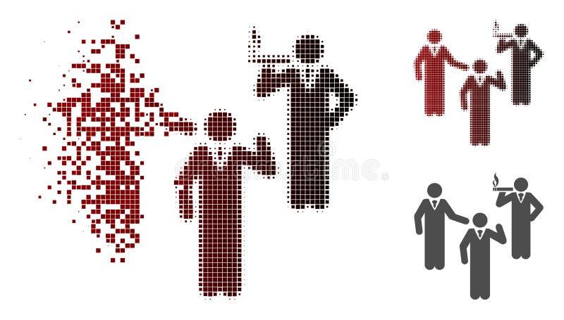 Ícone de Dot Halftone Discuss Standing Persons da poeira ilustração stock