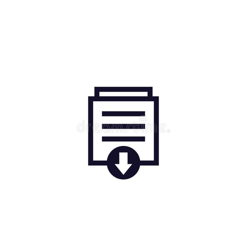 Ícone de download de documentos em branco, vetor ilustração do vetor