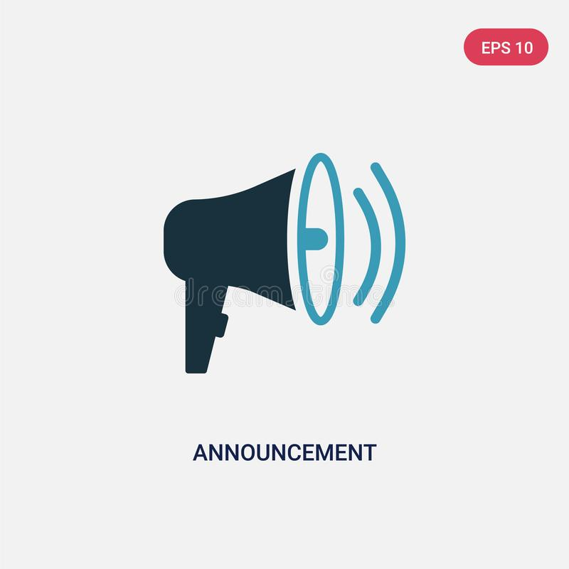 Ícone de duas cores do vetor do anúncio do conceito de mercado dos meios sociais o símbolo azul isolado do sinal do vetor do anún ilustração stock