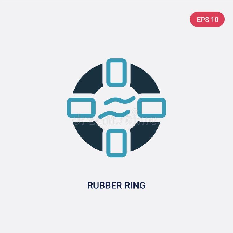 Ícone de duas cores do vetor do anel de borracha do conceito do verão o símbolo azul isolado do sinal do vetor do anel de borrach ilustração stock