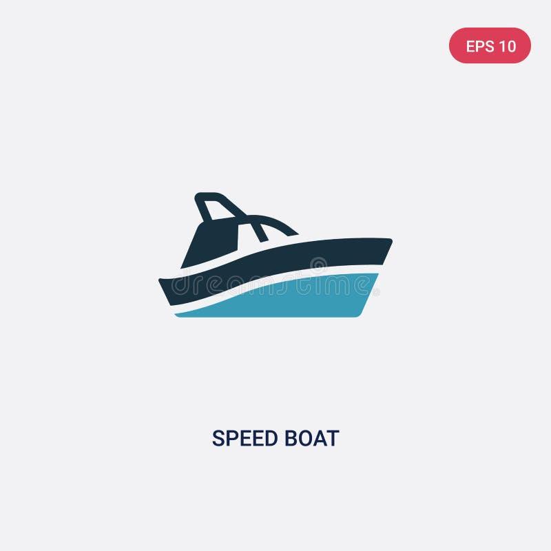 Ícone de duas cores do vetor do barco da velocidade do conceito náutico o símbolo azul isolado do sinal do vetor do barco da velo ilustração stock
