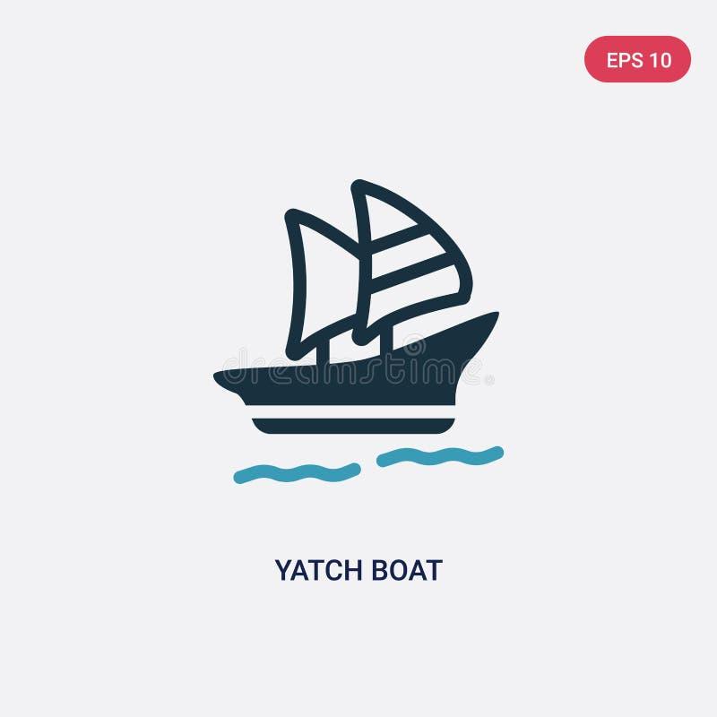 ?cone de duas cores do vetor do barco do yatch do conceito do ver?o o s?mbolo azul isolado do sinal do vetor do barco do yatch po ilustração royalty free